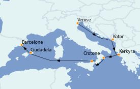 Itinéraire de la croisière Méditerranée 11 jours à bord du Seabourn Quest