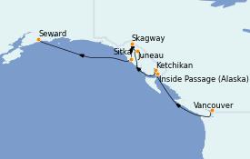 Itinéraire de la croisière Alaska 8 jours à bord du Silver Shadow