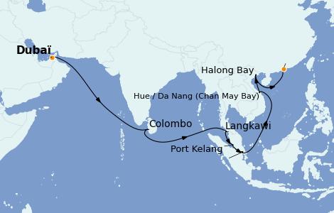 Itinéraire de la croisière Asie 20 jours à bord du Queen Elizabeth