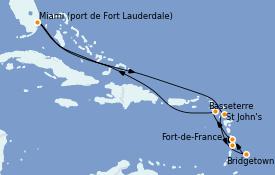 Itinéraire de la croisière Caraïbes de l'Est 11 jours à bord du Celebrity Equinox