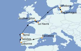 Itinéraire de la croisière Méditerranée 11 jours à bord du MSC Poesia
