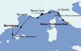 Itinéraire de la croisière Méditerranée 8 jours à bord du Marina