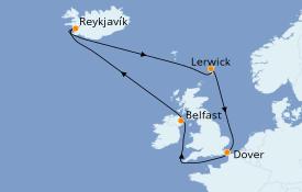 Itinéraire de la croisière Îles Britanniques 13 jours à bord du Carnival Legend
