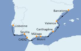 Itinéraire de la croisière Méditerranée 10 jours à bord du Azamara Pursuit
