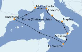 Itinéraire de la croisière Méditerranée 9 jours à bord du Norwegian Jade