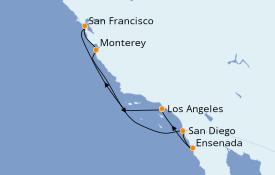 Itinéraire de la croisière Californie 8 jours à bord du Discovery Princess