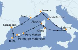 Itinéraire de la croisière Méditerranée 12 jours à bord du Costa Victoria