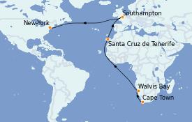 Itinéraire de la croisière Afrique 24 jours à bord du Queen Mary 2