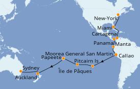 Itinéraire de la croisière Tour du Monde 2020 37 jours à bord du Sea Princess