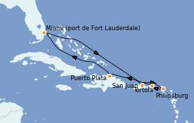 Itinéraire de la croisière Caraïbes de l'Est 8 jours à bord du Celebrity Equinox