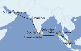 Itinéraire de la croisière Inde 18 jours à bord du Azamara Quest
