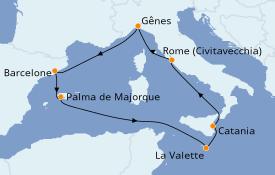 Itinéraire de la croisière Méditerranée 8 jours à bord du Costa Pacifica