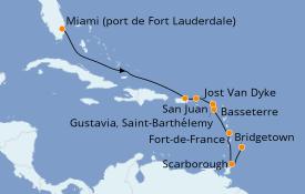 Itinéraire de la croisière Caraïbes de l'Est 11 jours à bord du Silver Whisper