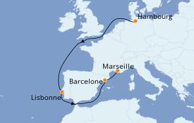 Itinéraire de la croisière Transatlantiques et Grands Voyages 2021 12 jours à bord du Costa Toscana