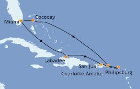 Itinéraire de la croisière Caraïbes de l'Est 9 jours à bord du Symphony of the Seas