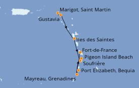 Itinéraire de la croisière Caraïbes de l'Est 7 jours à bord du Le Champlain