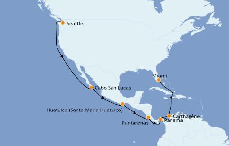 Itinéraire de la croisière Riviera Mexicaine 16 jours à bord du Carnival Freedom