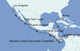 Itinéraire de la croisière Riviera Mexicaine 16 jours à bord du Norwegian Encore