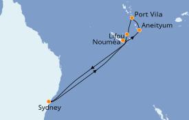 Itinéraire de la croisière Australie 2019 10 jours à bord du Celebrity Solstice