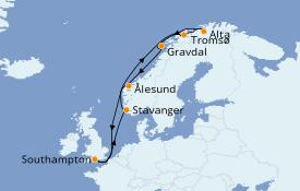 Itinéraire de la croisière Fjords & Norvège 15 jours à bord du Island Princess