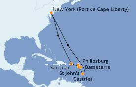 Itinéraire de la croisière Caraïbes de l'Est 12 jours à bord du Anthem of the Seas