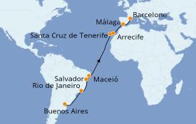 Itinéraire de la croisière Transatlantiques et Grands Voyages 2020 19 jours à bord du Costa Pacifica