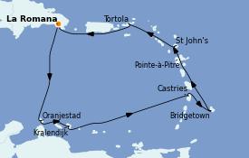 Itinéraire de la croisière Caraïbes de l'Est 12 jours à bord du Costa Pacifica