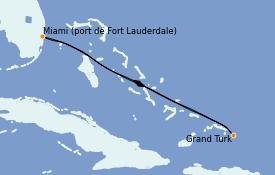 Itinéraire de la croisière Caraïbes de l'Est 5 jours à bord du Regal Princess