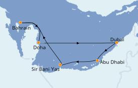Itinéraire de la croisière Dubaï - Emirats 8 jours à bord du MSC Virtuosa