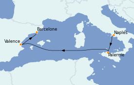 Itinerario de crucero Mediterráneo 5 días a bordo del MSC Grandiosa