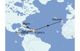 Itinéraire de la croisière Caraïbes de l'Est 13 jours à bord du MSC Armonia