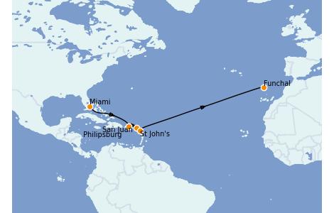Itinéraire de la croisière Caraïbes de l'Est 12 jours à bord du MSC Armonia
