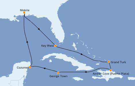 Itinéraire de la croisière Caraïbes de l'Est 10 jours à bord du Carnival Sensation