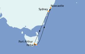 Itinéraire de la croisière Australie 2022 8 jours à bord du Radiance of the Seas