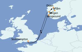 Itinéraire de la croisière Fjords & Norvège 8 jours à bord du MSC Magnifica