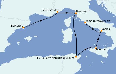 Itinéraire de la croisière Méditerranée 7 jours à bord du Ms Nieuw Statendam