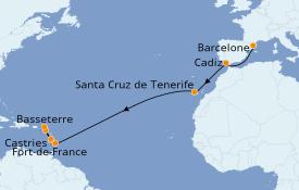 Itinéraire de la croisière Transatlantiques et Grands Voyages 2020 15 jours à bord du MSC Splendida