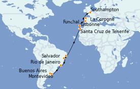 Itinerario de crucero Trasatlántico y Grande Viaje 2022 22 días a bordo del MSC Orchestra