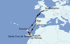 Itinéraire de la croisière Méditerranée 13 jours à bord du Sky Princess