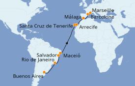 Itinéraire de la croisière Transatlantiques et Grands Voyages 2020 20 jours à bord du Costa Pacifica