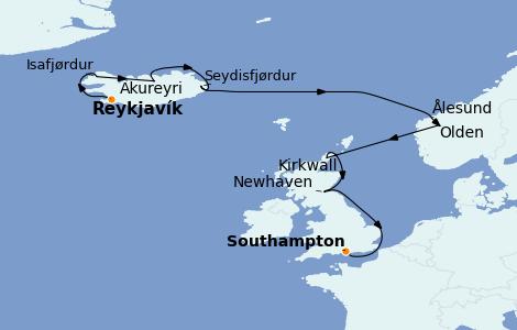 Itinéraire de la croisière Exploration polaire 10 jours à bord du Norwegian Star