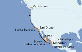 Itinéraire de la croisière Riviera Mexicaine 15 jours à bord du ms Maasdam