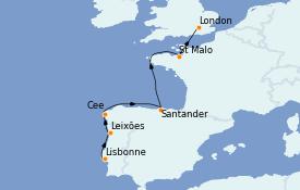 Itinéraire de la croisière Méditerranée 9 jours à bord du Le Champlain