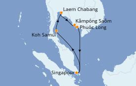 Itinéraire de la croisière Asie 10 jours à bord du Costa Fortuna