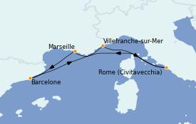 Itinéraire de la croisière Méditerranée 6 jours à bord du Vision of the Seas