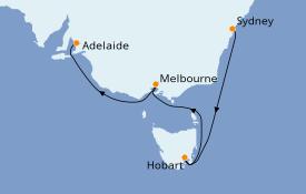 Itinéraire de la croisière Australie 2020 7 jours à bord du Majestic Princess