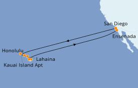 Itinéraire de la croisière Hawaii 19 jours à bord du ms Koningsdam