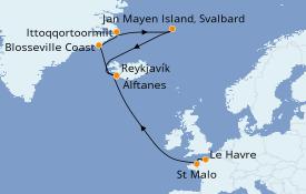 Itinéraire de la croisière Exploration polaire 15 jours à bord du Le Commandant Charcot