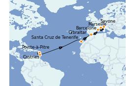 Itinéraire de la croisière Transatlantiques et Grands Voyages 2022 15 jours à bord du Costa Fortuna