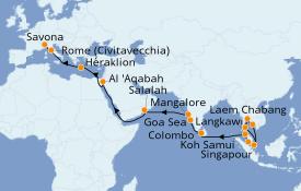 Itinéraire de la croisière Transatlantiques et Grands Voyages 2021 31 jours à bord du Costa Fortuna